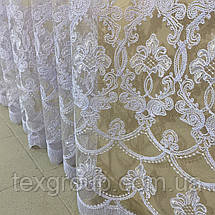 Готова фатиновая тюль №116203 з розкішною вишивкою 3*2,70 м біла, фото 2