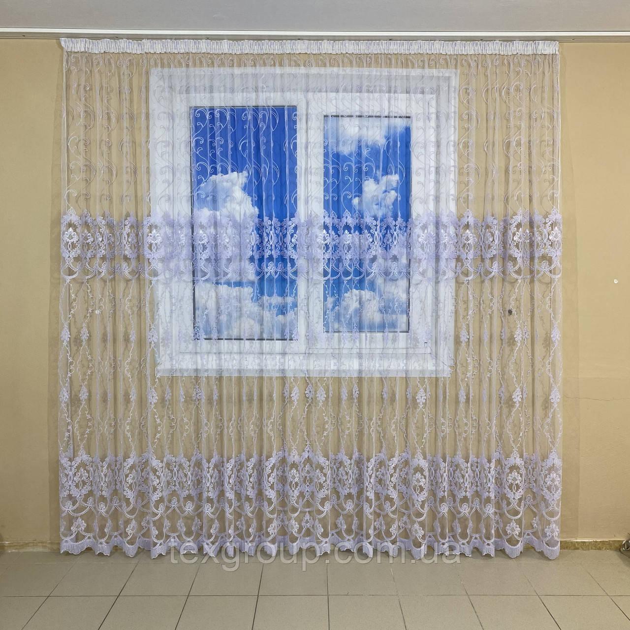 Готова фатиновая тюль №116203 з розкішною вишивкою 4*2,70 м біла