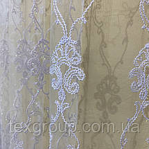 Готовая фатиновая тюль №116203 с шикарной вышивкой 4*2,70м белая, фото 2