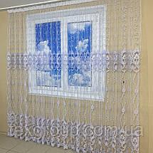Готова фатиновая тюль №116203 з розкішною вишивкою 4*2,70 м біла, фото 3