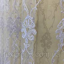 Готовая фатиновая тюль №116203 с шикарной вышивкой 5*2,70м белая, фото 3