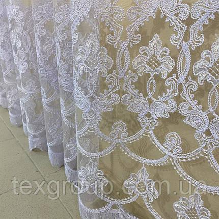 Готова фатиновая тюль №116203 з розкішною вишивкою 5*2,70 м біла, фото 2