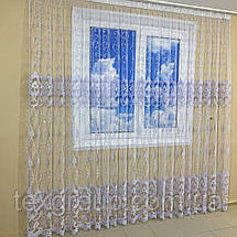 Готова фатиновая тюль №116203 з розкішною вишивкою 5*2,70 м біла, фото 3