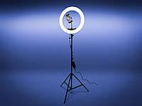 Кольцевая лампа 46 см DeLux LED Professional (65W) с точной регулировкой света на штативе 200 см / Держатель