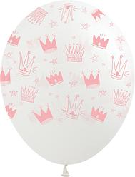 "1100 Шар 12"" (30 см) Розовые короны на прозрачном (Kalisan)"