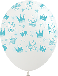 """1101 Шар 12"""" (30 см) Голубые короны на прозрачном (Kalisan)"""