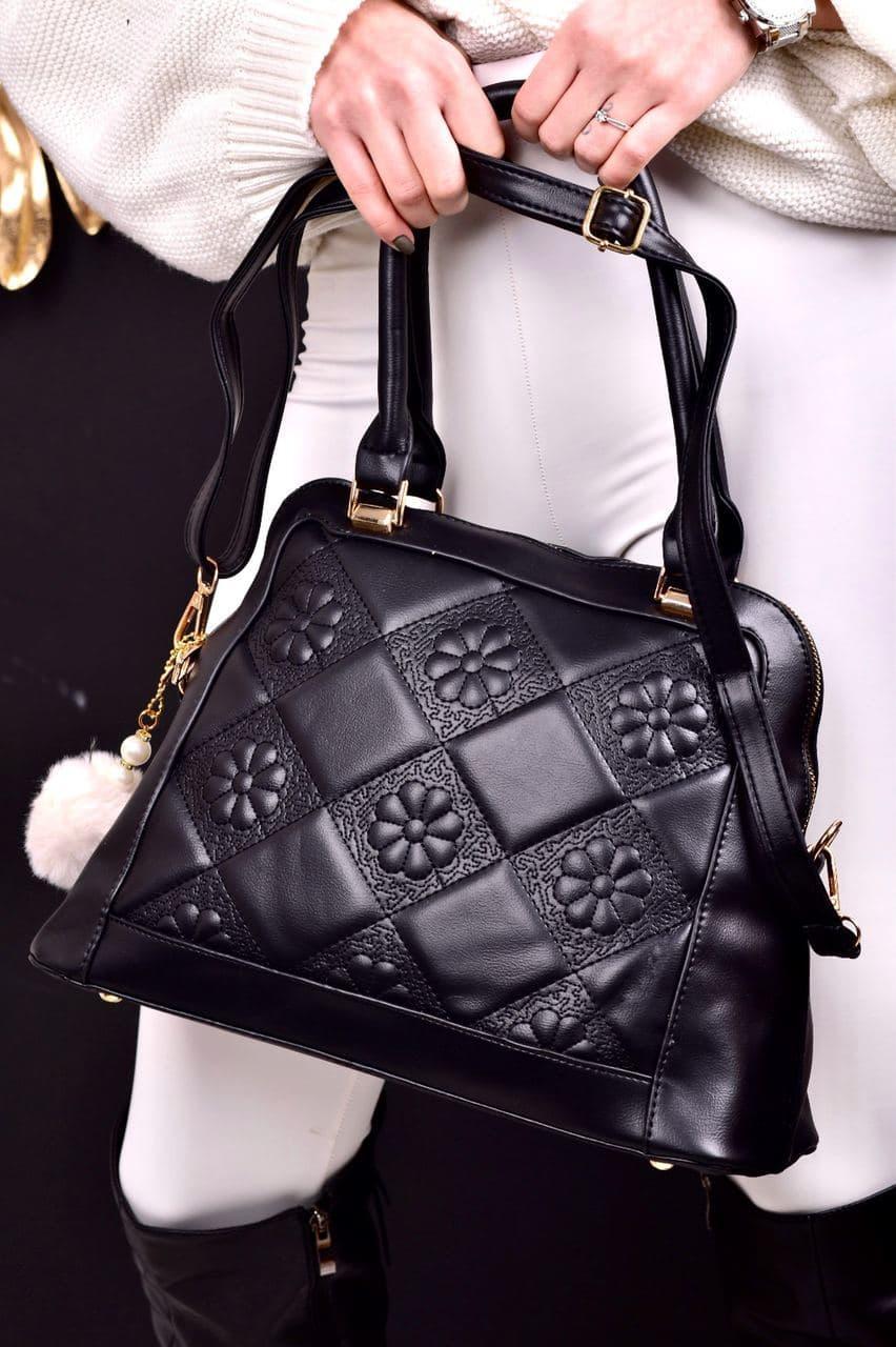 Женская сумка черная с брелком код 7-999
