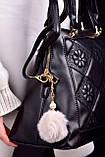 Женская сумка черная с брелком код 7-999, фото 3