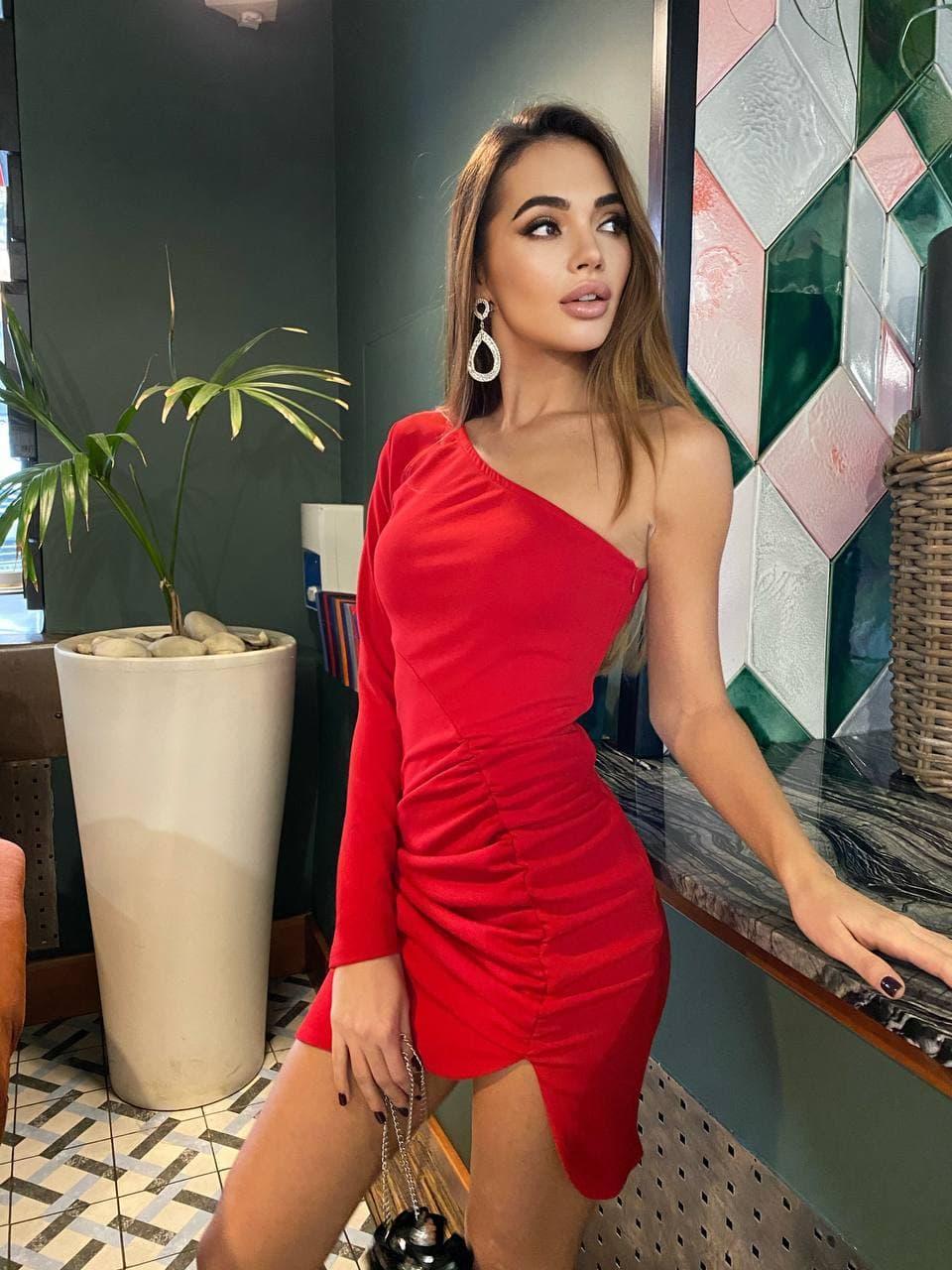 Асиметричне плаття з одним рукавом з крепу облягає коктейльне (р. S, M) 36032090