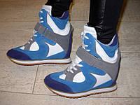 Д422 - Женские ботиночки сникерсы голубые
