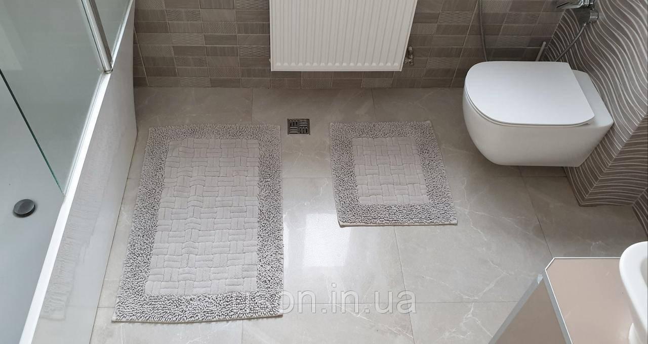 Набор хлопковых ковриков для ванной комнаты Zeron  60*100 + 50*60 Mosso серый2