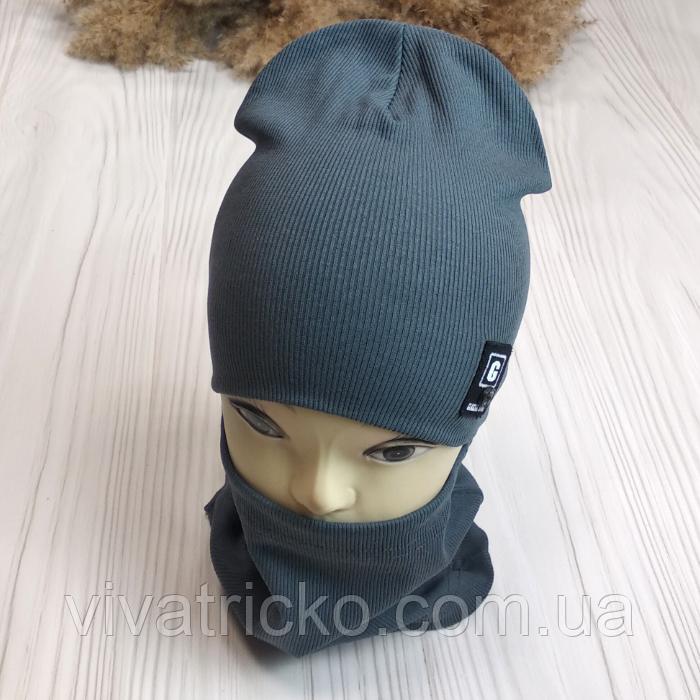 """М 93500. Комплект весена-осінь шапка + хомут для хлопчиків """"G"""" 2-8 років, різні кольори"""