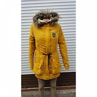 Куртка парка женская Оксана желтая, стильные куртки