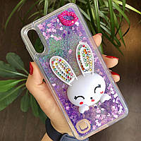 Чехол Glitter для Samsung Galaxy M10 / M105 бампер жидкий блеск Заяц Фиолетовый