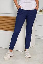 Медицинские женские джоггеры синие Premium елит-котон