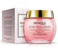 Маска BioAqua ночная увлажняющая с лепестками троянды ROSE PETAL МАSК. 120г.