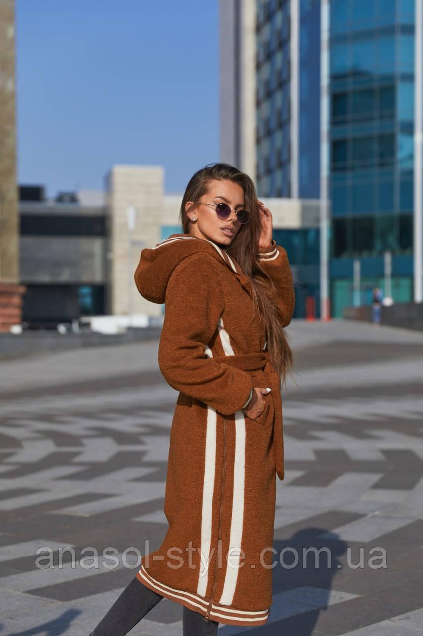 Пальто женское кашемировое в спортивном стиле тренд 2021 цвет охра