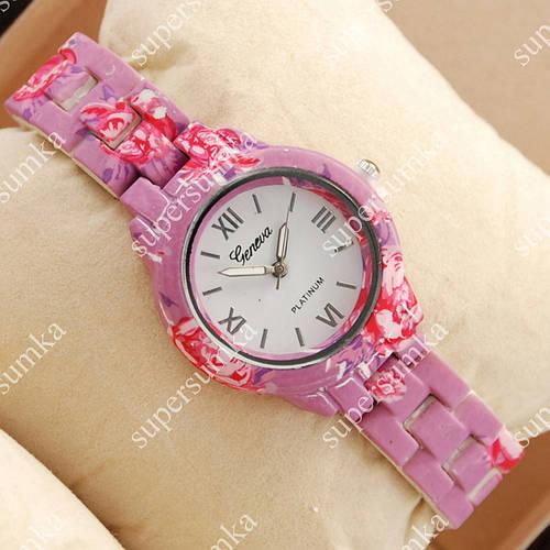 Красочные наручные часы Geneva Platinum Purple-flower/White 1069
