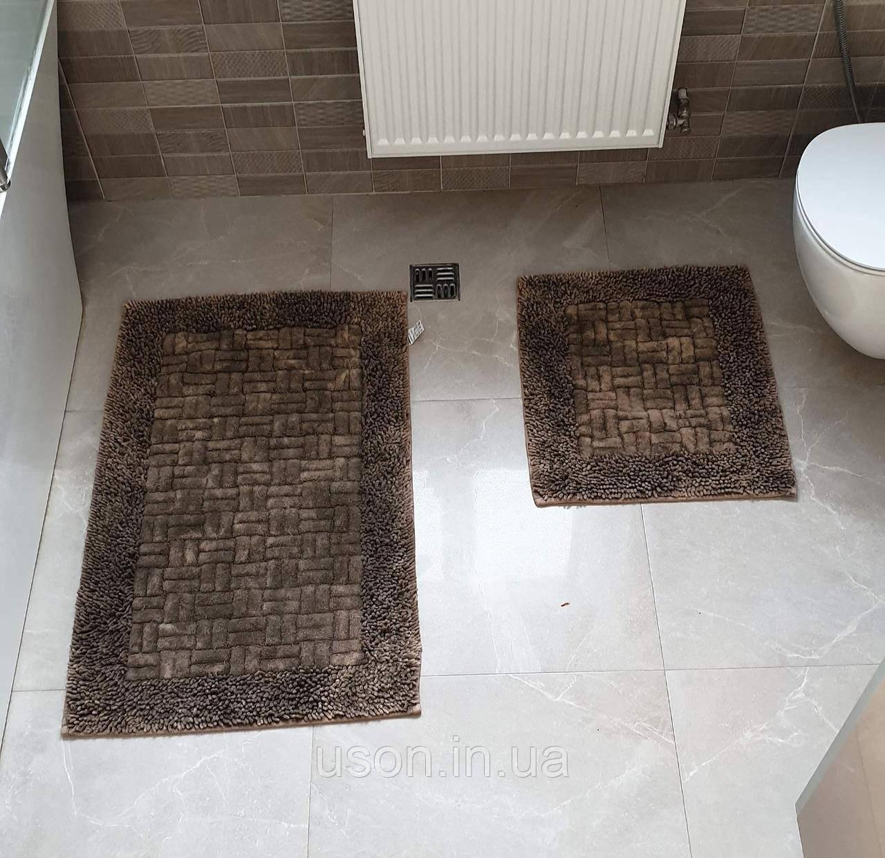 Набор хлопковых ковриков для ванной комнаты Zeron  60*100 + 50*60 Vintage Cotton коричневый
