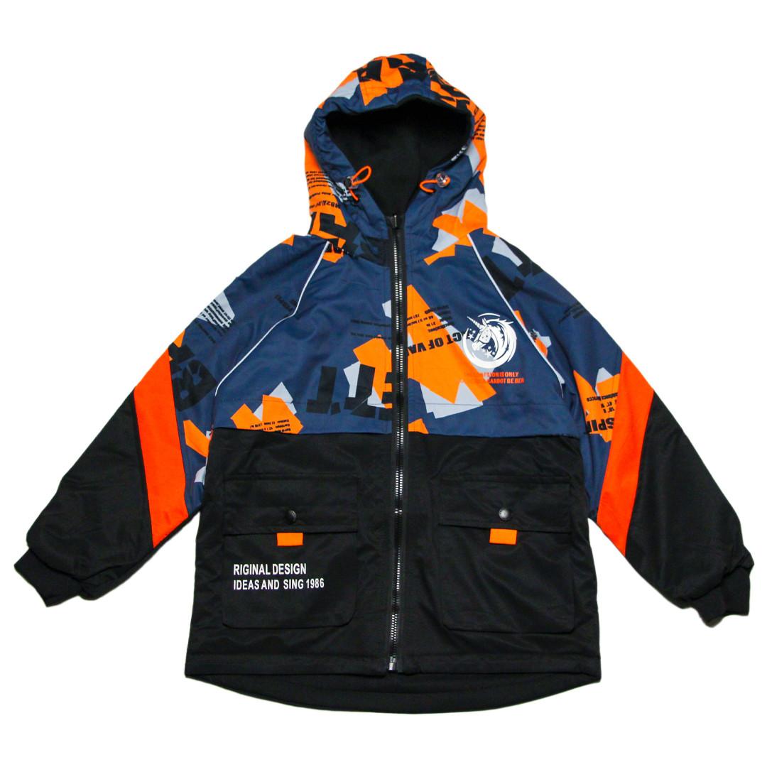 """Куртка двостороння для хлопчика 134-140 зросту """"Єдиноріг"""" сіра"""