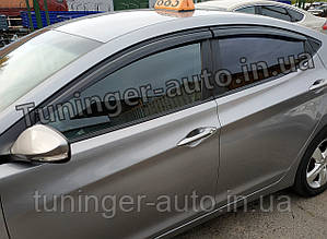 Ветровики, дефлекторы окон Hyundai Elantra MD 2011-2015 (AutoClover/Корея)