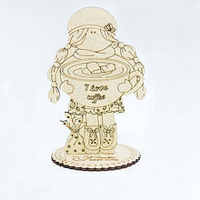 Фигурка для декора Кукла из фанеры на подставке  Идейка