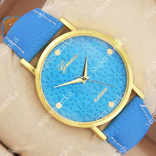 Яркие наручные часы Geneva Light blue/Gold/Light blue 1073