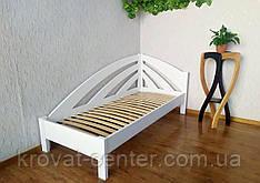 """Белая подростковая детская кровать 90х200 из массива дерева """"Радуга"""" (левая)"""