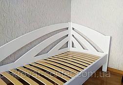"""Белая подростковая детская кровать 90х200 из массива дерева """"Радуга"""" (левая), фото 3"""