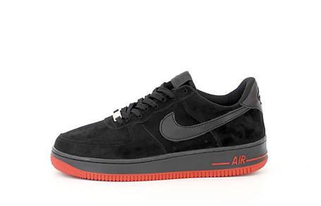 Мужские кроссовки Air Force 1 Low Black/Red, фото 2