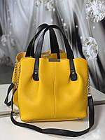Сумка желтая женская вместительная шоппер классическая модная кожзам
