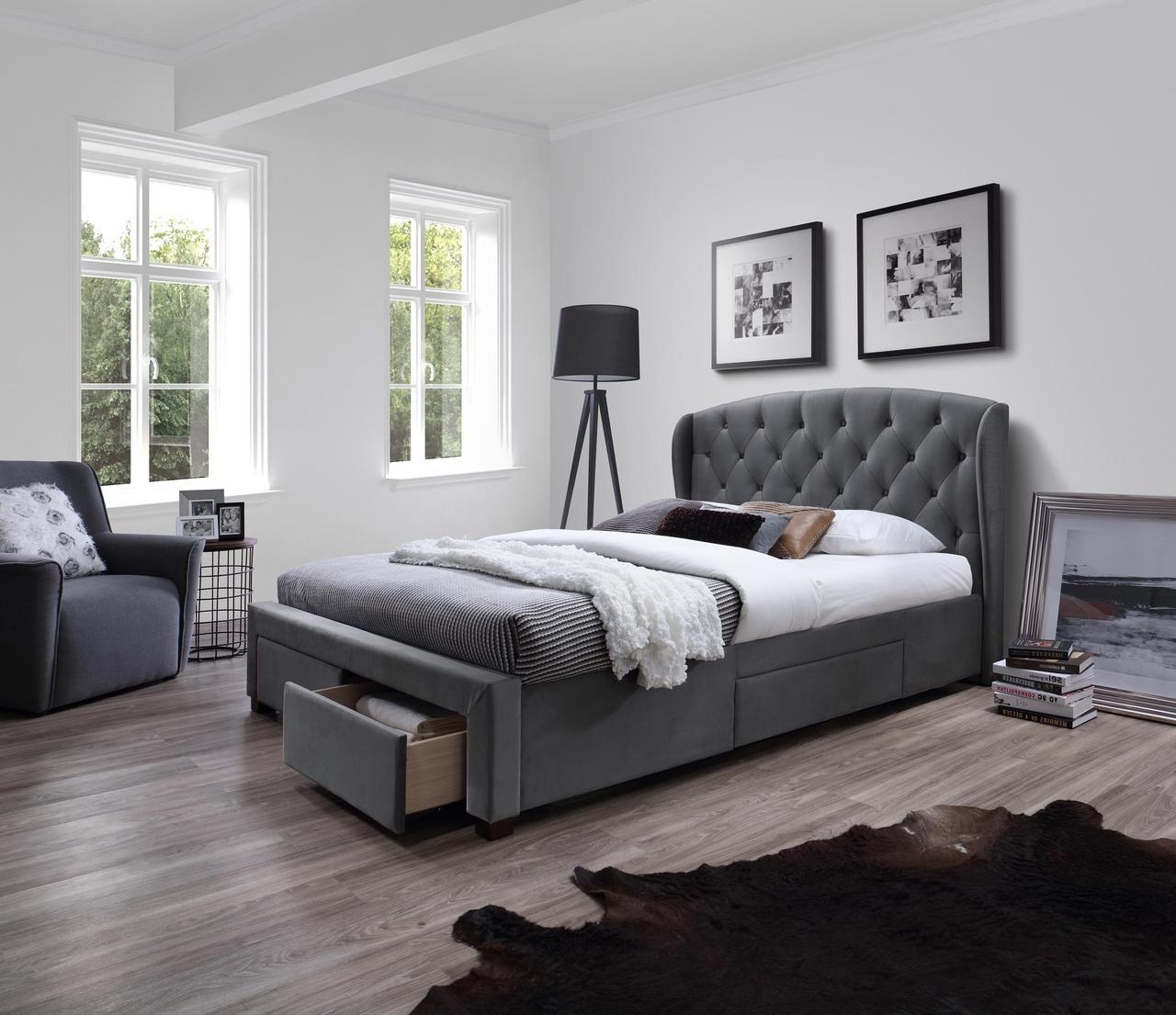 Кровать SABRINA Halmar 160x200 Серый