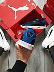 Мужские кроссовки Puma Suede (черно-белые с синим) 555TP демисезонные спортивные кеды, фото 3