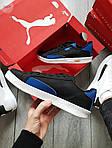 Мужские кроссовки Puma Suede (черно-белые с синим) 555TP демисезонные спортивные кеды, фото 2