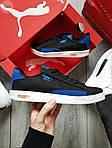 Мужские кроссовки Puma Suede (черно-белые с синим) 555TP демисезонные спортивные кеды, фото 5