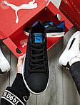 Мужские кроссовки Puma Suede (черно-белые с синим) 555TP демисезонные спортивные кеды, фото 4