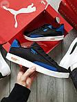 Мужские кроссовки Puma Suede (черно-белые с синим) 555TP демисезонные спортивные кеды, фото 6