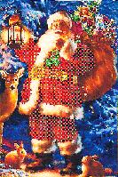 """Схема для вышивания бисером на подрамнике """"Дед Мороз в лесу"""""""