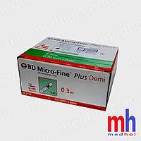 Инсулиновый шприц bd micro fine plus demi 0,30 мл (30G) x8 мм (США)