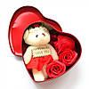 Подарункова шкатулочка з трояндою з мила (3 трояндочки) + Подарунок Кулон I Love you, фото 2