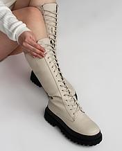 Високі чоботи на шнуруванні беж жіночі