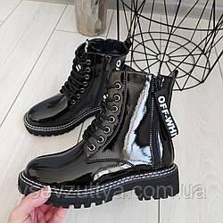 Лаковые ботинки женские черные весна осень