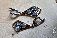 Срібні сережки з натуральним місячним каменем, фото 1