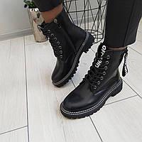 Ботинки женские черные деми кожа/экокожа