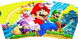 Стаканчики бумажные Марио (10шт/уп. 250мл.)полоска  одноразовые детские редкие малотиражные -