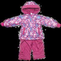Детский весенний, осенний комбинезон (штаны на шлейках и куртка) на флисе и холлофайбере р 80 86 92 98 104 Д06, фото 1
