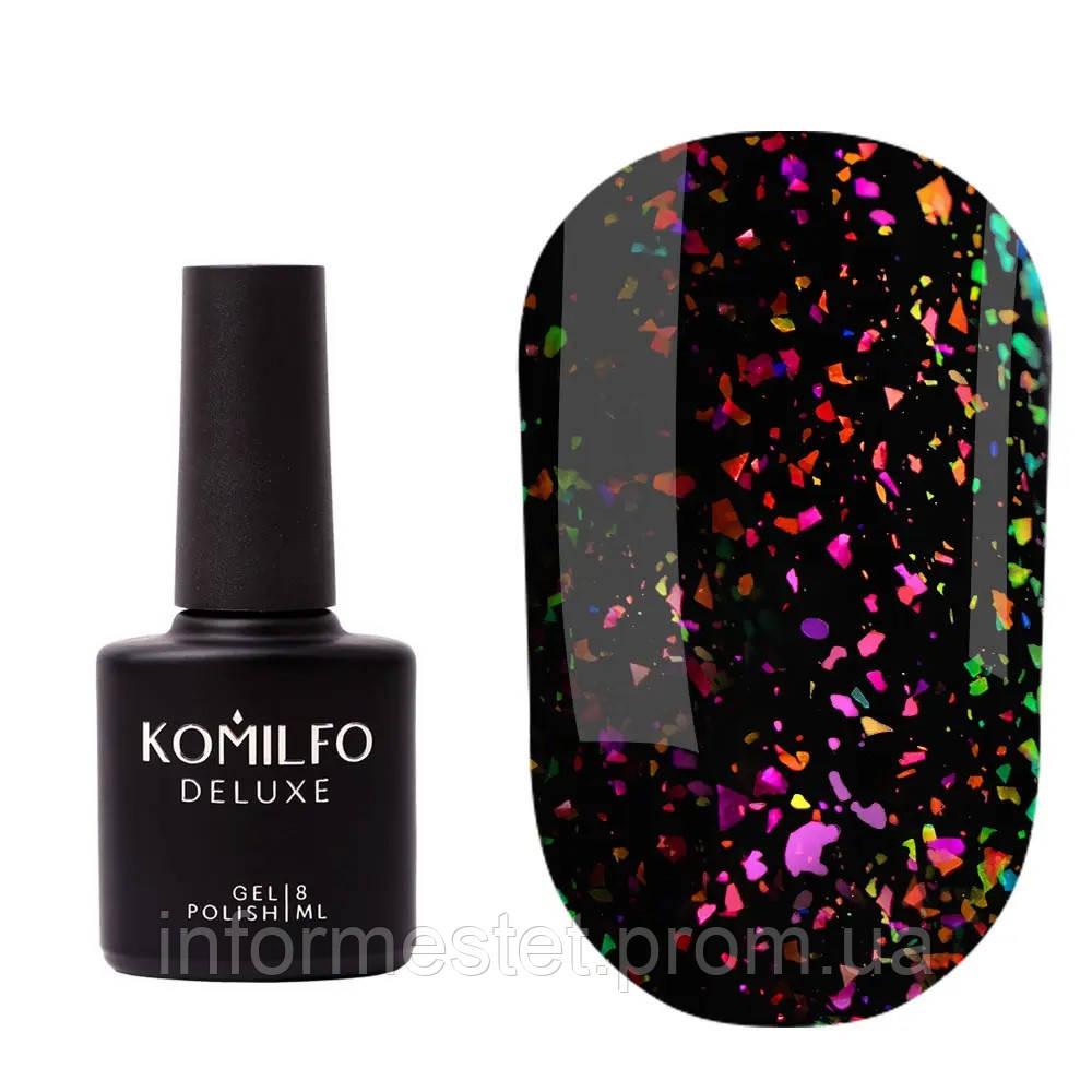 Komilfo No Wipe Chameleon Top — топ без липкого шару з пластівцями єдиноріг, 8 мл