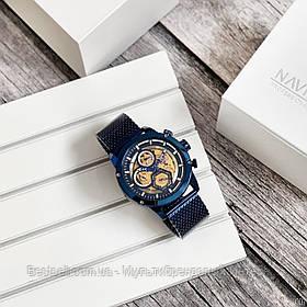 Оригінальні чоловічі наручні годинники сталевий ремінець Naviforce NF9167 All Blue Навифорс