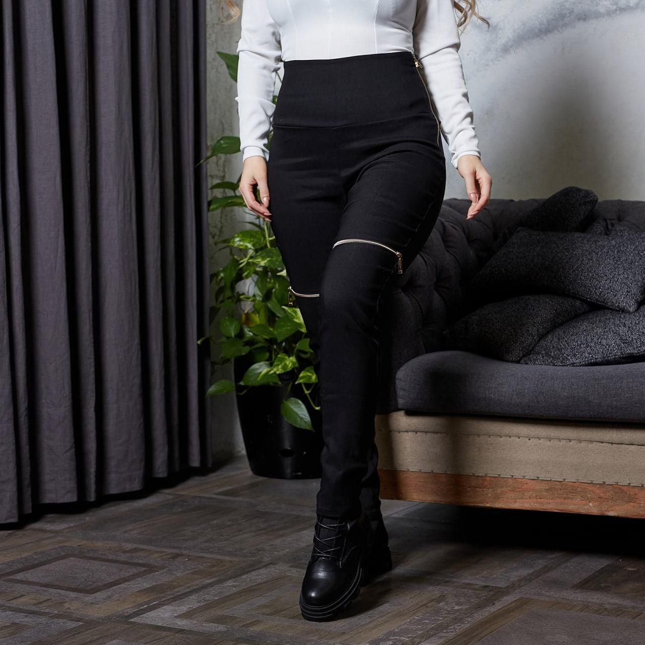 Жіночі чорні лосини завищена посадка стрейч джинс котон декор змійки батал розміри: 50-52,54-56,58-60