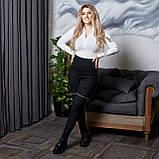 Жіночі чорні лосини завищена посадка стрейч джинс котон декор змійки батал розміри: 50-52,54-56,58-60, фото 2